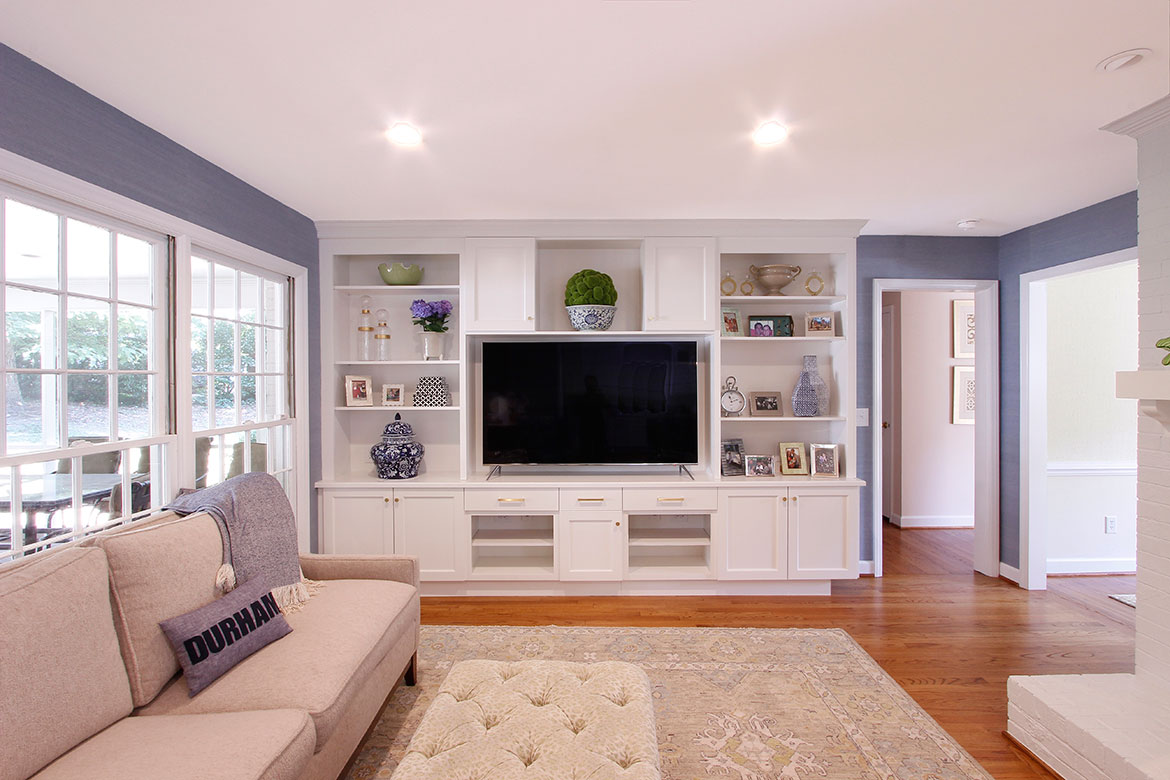 Durham Clean and Crafty Kitchen Design and Remodel - Custom Entertainment Center