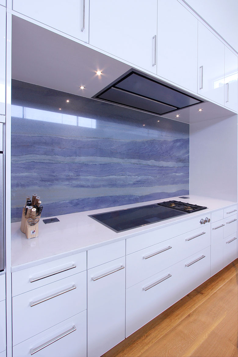 Chapel Hill Modern Architectural Kitchen Design and Remodel - Blue Marble Backsplash