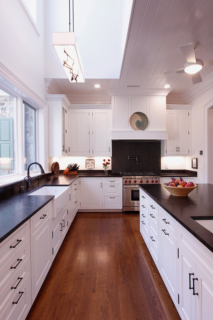 Chapel Hill Traditional White Kitchen Design and Remodel - Leathered Countertops