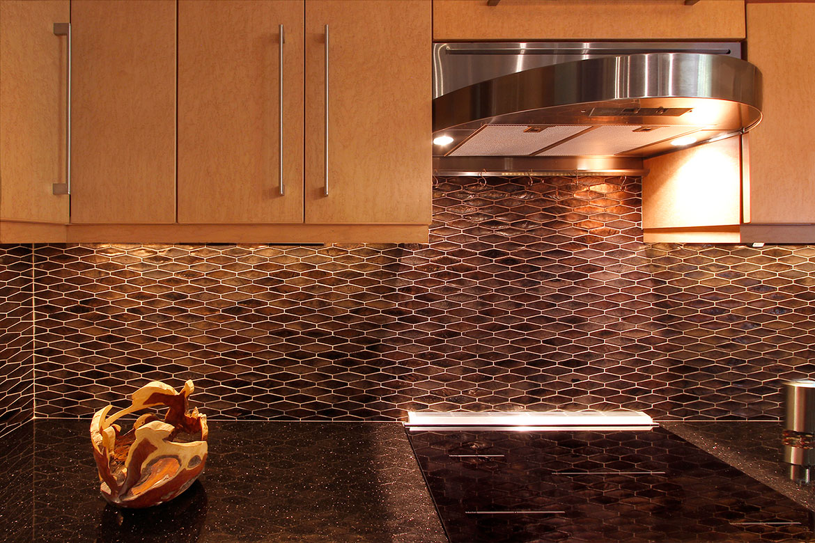 Raleigh Loft Contemporary Kitchen Design and Remodel - Glass Backsplash